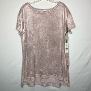 NWT Green Tea Crushed Velvet High Low Tee Size L
